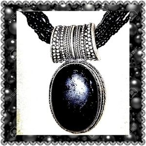 🛍 Tribal boho gothic black cabochon & multi beads